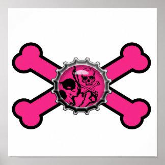 bandera pirata rosada del rosa del bottlecap del c póster