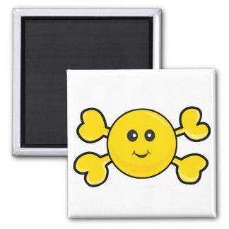 bandera pirata sonriente del amarillo del cráneo d imanes