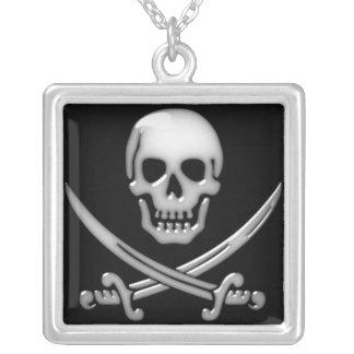 Bandera pirata vidriosa del cráneo y de la espada joyerias