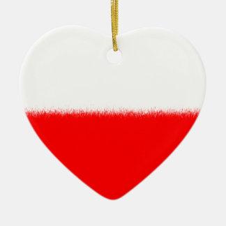 Bandera polaca adorno navideño de cerámica en forma de corazón