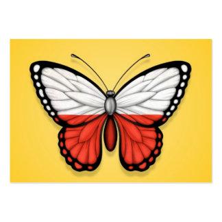 Bandera polaca de la mariposa en amarillo tarjetas de visita