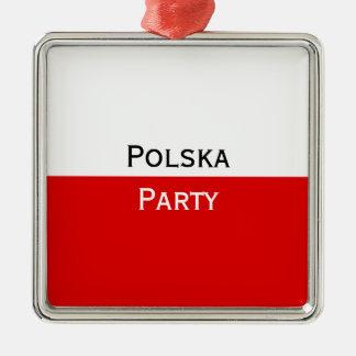 Bandera polaca de Polska Adorno Navideño Cuadrado De Metal