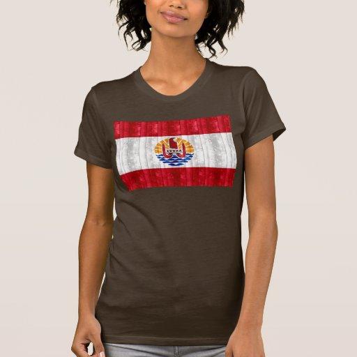 Bandera polinesia de madera camisetas