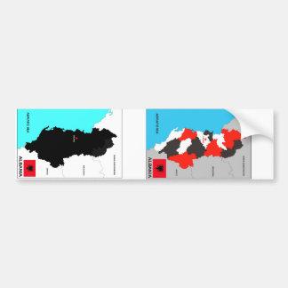 bandera política del mapa del país de Albania Etiqueta De Parachoque