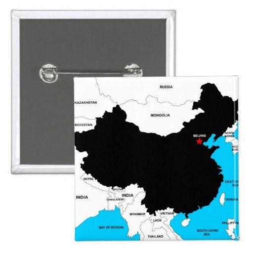 bandera política del mapa del país de China Pin