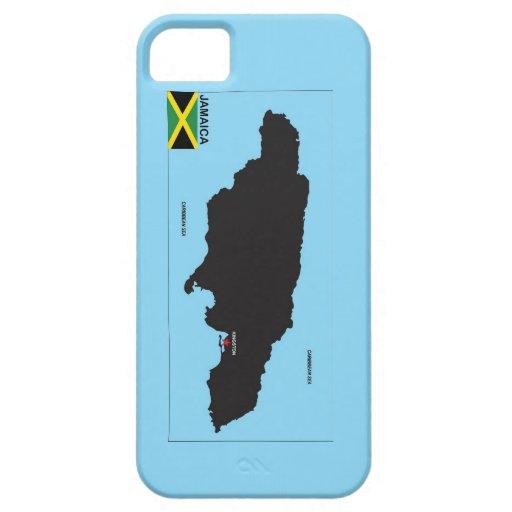 Bandera política del mapa del país de Jamaica iPhone 5 Fundas
