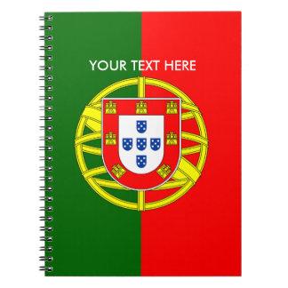 Bandera portuguesa del cuaderno espiral de encargo