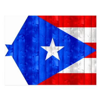 Bandera puertorriqueña de madera postal
