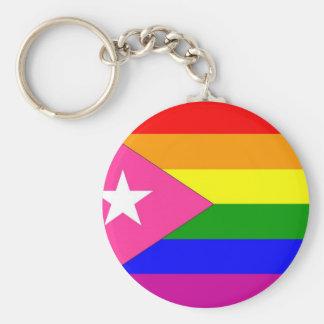 Bandera puertorriqueña del orgullo gay llavero redondo tipo chapa