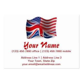 Bandera que agita Británico-Americana Tarjetas De Visita Grandes