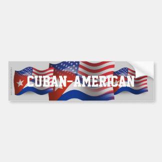Bandera que agita Cubano-Americana Etiqueta De Parachoque
