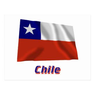 Bandera que agita de Chile con nombre Postal