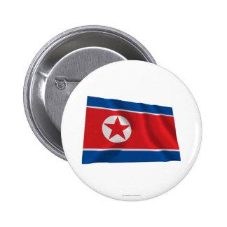 Bandera que agita de Corea del Norte Chapa Redonda 5 Cm
