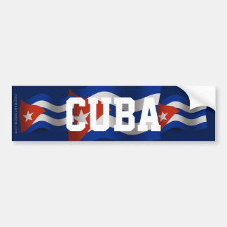 Bandera que agita de Cuba Etiqueta De Parachoque