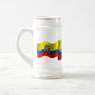 Bandera que agita de Ecuador Jarra De Cerveza