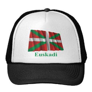 Bandera que agita de Euskadi (País Vasco) con nomb Gorros Bordados