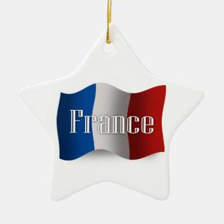 Bandera que agita de Francia Adorno De Cerámica En Forma De Estrella