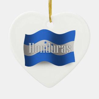 Bandera que agita de Honduras Adorno Navideño De Cerámica En Forma De Corazón