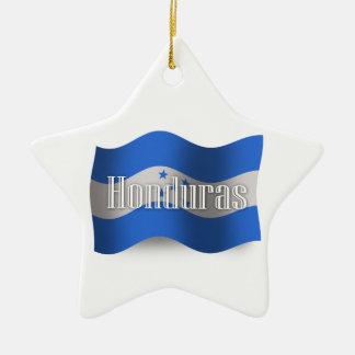 Bandera que agita de Honduras Adorno Navideño De Cerámica En Forma De Estrella