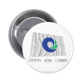 Bandera que agita de Inchon con nombre Chapa Redonda 5 Cm