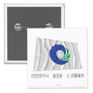 Bandera que agita de Inchon con nombre Chapa Cuadrada 5 Cm