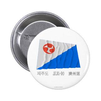 Bandera que agita de Jeju-Do con nombre Chapa Redonda De 5 Cm