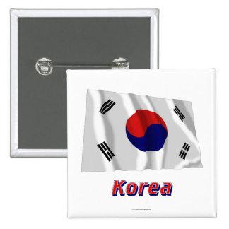 Bandera que agita de la Corea del Sur con nombre Chapa Cuadrada 5 Cm