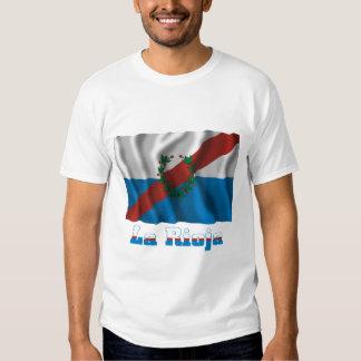 Bandera que agita de La Rioja con nombre Camisetas
