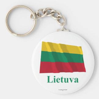 Bandera que agita de Lituania con nombre en Lithua Llavero Redondo Tipo Chapa