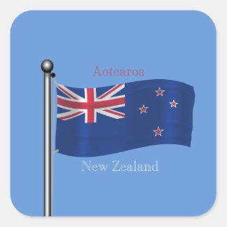 Bandera que agita de Nueva Zelanda Calcomanías Cuadradass