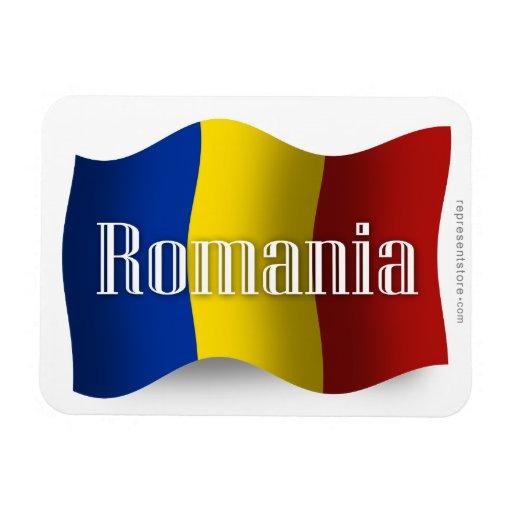 Bandera que agita de Rumania Iman De Vinilo