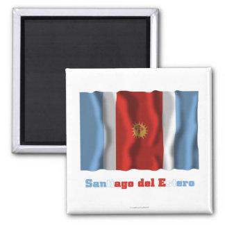 Bandera que agita de Santiago del Estero con nombr Imán De Frigorífico