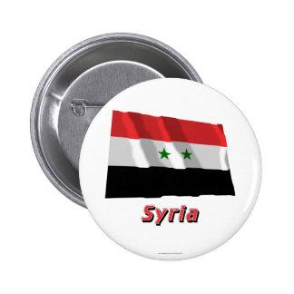 Bandera que agita de Siria con nombre Chapa Redonda 5 Cm