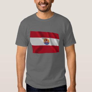 Bandera que agita francesa de Polinesia Camisetas