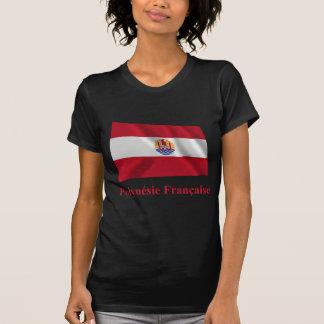 Bandera que agita francesa de Polinesia con nombre Camiseta