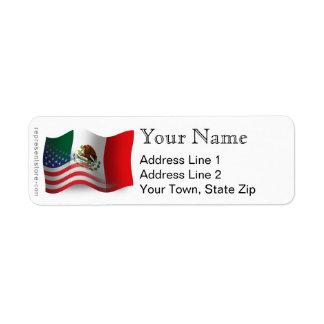 Bandera que agita mexicana-americano etiqueta de remitente