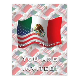Bandera que agita mexicana-americano invitación 10,8 x 13,9 cm
