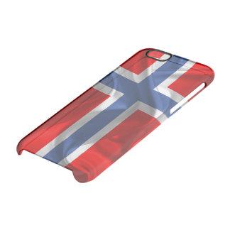 Bandera que agita noruega funda transparente para iPhone 6/6S
