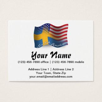 Bandera que agita Sueco-Americana Tarjeta De Negocios