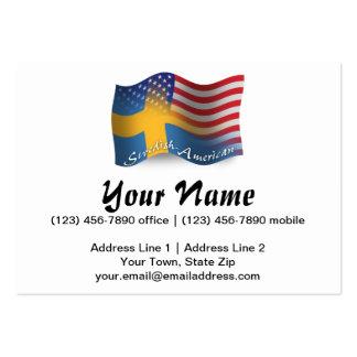 Bandera que agita Sueco-Americana Tarjetas De Visita Grandes