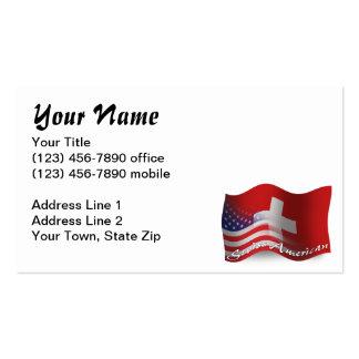 Bandera que agita Suizo-Americana Tarjetas De Visita