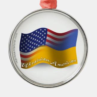 Bandera que agita Ucraniano-Americana Adorno Redondo Plateado