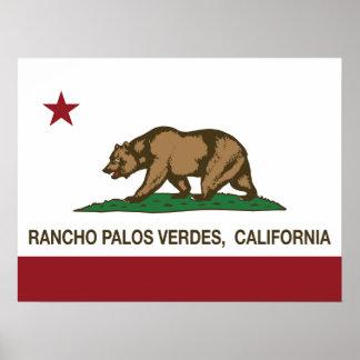 Bandera Rancho Palos Verdes del estado de Californ Póster