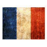 Bandera rasguñada y llevada del francés del vintag tarjetas postales