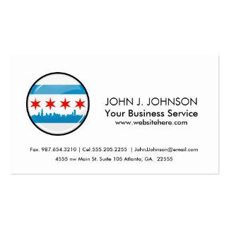 Bandera redonda brillante de Chicago Tarjetas De Visita
