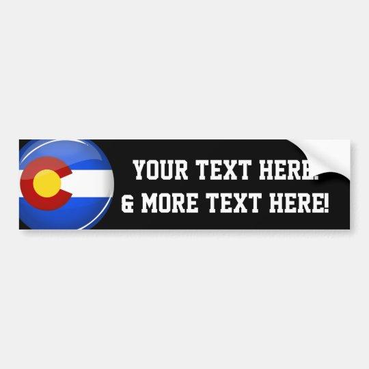 Bandera redonda brillante de Colorado Pegatina Para Coche