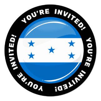 Bandera redonda brillante del Honduran Invitación 13,3 Cm X 13,3cm
