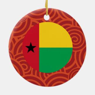 Bandera redonda de Guinea-Bissau Adorno Navideño Redondo De Cerámica