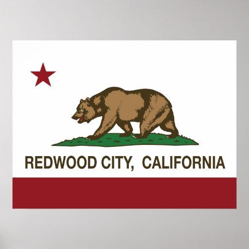 Bandera Redwood City del estado de California Impresiones