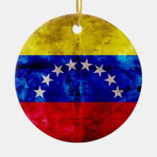 Bandera resistida de Venezuela Ornamentos De Navidad